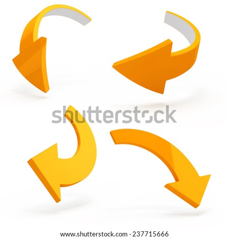 3d arrows on white background - stock photo