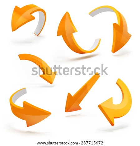 3d arrows on white background - stock photo