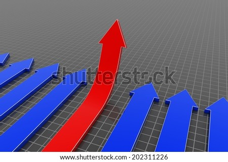 3D arrows(red arrows up) - stock photo