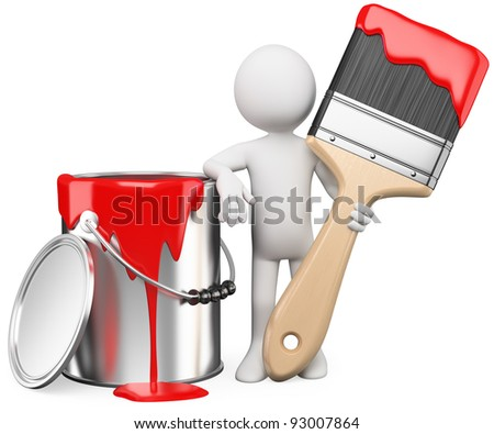 3D artist posing with a can of red paint and paintbrush. Rendered at high resolution on a white background with diffuse shadows. - stock photo