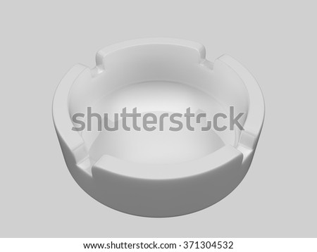 3d Ashtray. An ashtray is a receptacle for ash from cigarettes and cigars. Ashtrays are typically made of fireproof material such as glass, heat-resistant plastic, pottery, metal, or rock. - stock photo