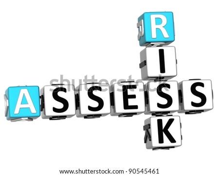3D Assess Risk Crossword on white backgound - stock photo