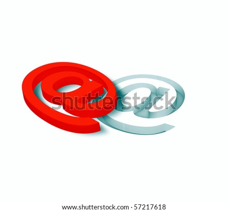 3D at symbol - stock photo