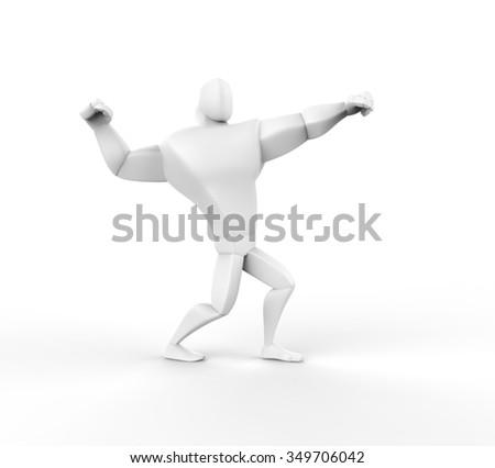 3D Athlete Power Posing - isolated on white. - stock photo
