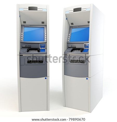 3d atm machines detailed isolated on white - stock photo