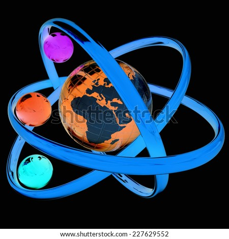 3d atom isolated on black background. Global concept - stock photo