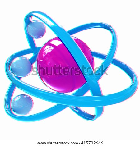 3d atom isolated on white background . 3D illustration. Anaglyph. View with red/cyan glasses to see in 3D.