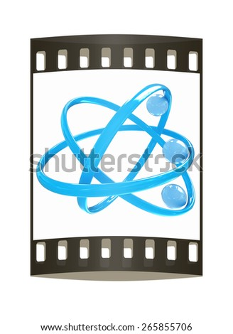 3d atom isolated on white background. The film strip - stock photo
