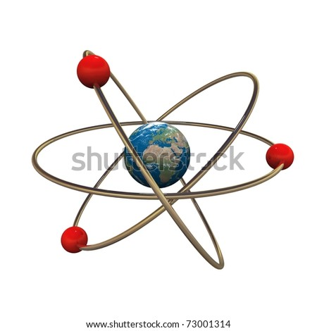3d atom model with Earth in center - stock photo
