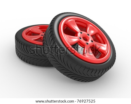 3D automobile wheel on a white background - stock photo