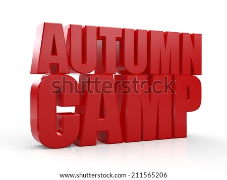 3D Autumn Camp text on white background