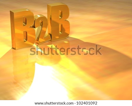 3D B2B Gold text over yellow background - stock photo