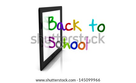3d back to school tablet illustration written in different colors on white background