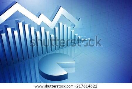 3D background image of a business stock market chart with a down arrow and pie chart - stock photo