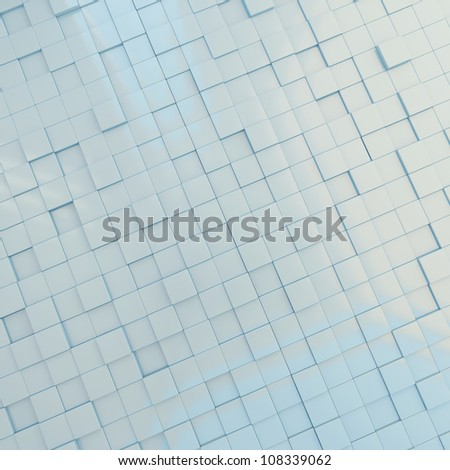 3d background light blue cubes of different height