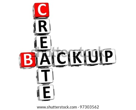 3D Backup Create Crossword on white background - stock photo