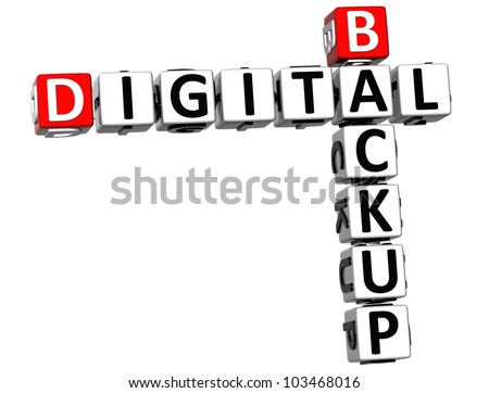 3D Backup Digital Crossword on white background