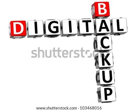 3D Backup Digital Crossword on white background - stock photo