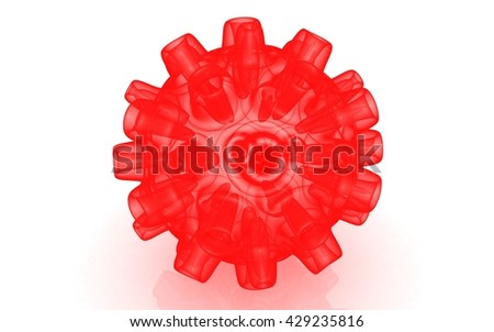 3D Bacteria virus cell isolated on white - stock photo