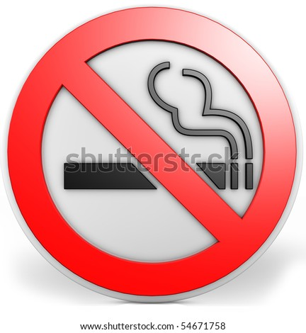 3D badge with a no smoking sign - stock photo