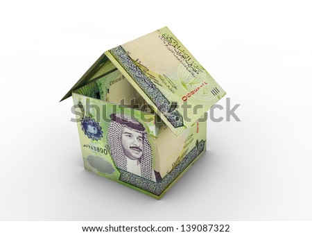 3D Bahrain money shaped as house origami isolated on white background