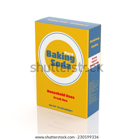 3D Baking Soda paper package isolated on white - stock photo
