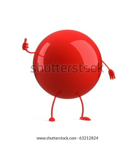 3d ball character on the white background - stock photo