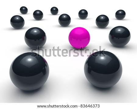 3d ball network purple black sphere team - stock photo