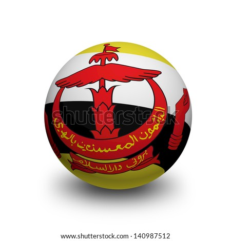 3D Ball with Flag of Brunei Darussalam - stock photo