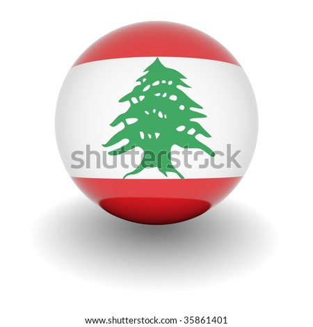3D Ball with Flag of Lebanon. High resolution 3d render isolated on white.