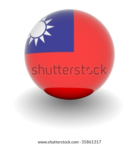 3D Ball with Flag of Republic of China. High resolution 3d render isolated on white. - stock photo