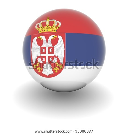3D Ball with Flag of Serbia. High resolution 3d render isolated on white. - stock photo