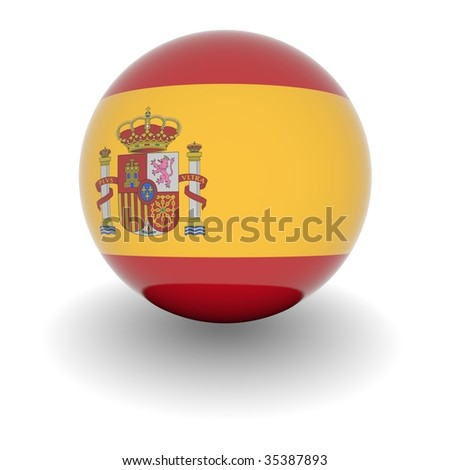 3D Ball with Flag of Spain. High resolution 3d render isolated on white. - stock photo