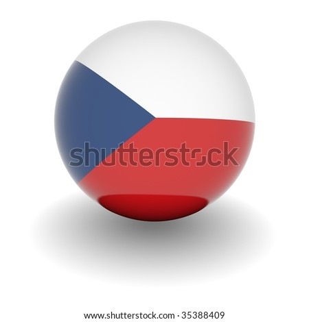 3D Ball with Flag of the Czech Republic. High resolution 3d render isolated on white. - stock photo