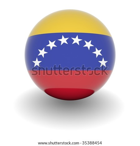 3D Ball with Flag of Venezuela. High resolution 3d render isolated on white. - stock photo