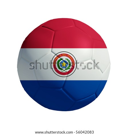 3D ball with Paraguay flag