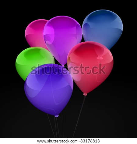 3d, ballon, balloon, party, birthday, colorful, color - stock photo
