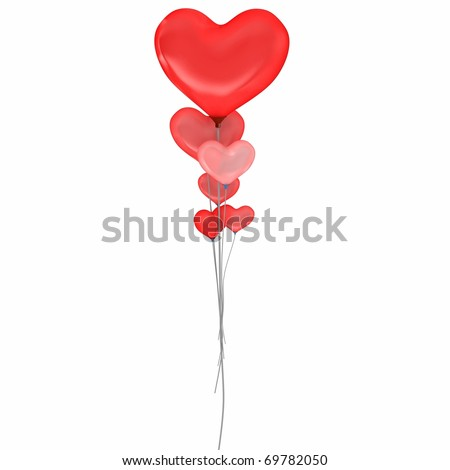 3d balloons heart valentine's day isolated on white - stock photo