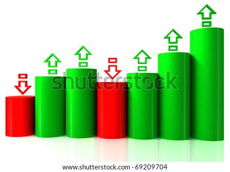 3D bar chart graph with arrows moving up on white bachgroung
