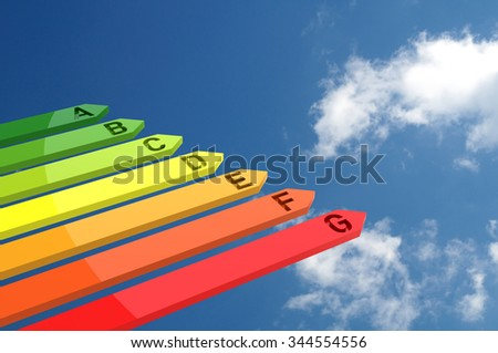 3D Bar Graph, Energy Efficiency Concept, Isolated on Blue Sky - stock photo