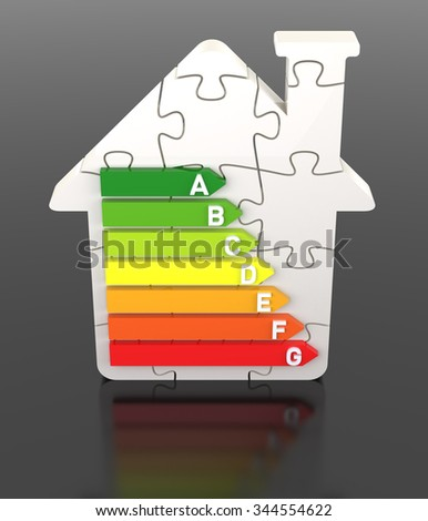 3D Bar Graph, Energy Efficiency Concept, with Puzzle Home - stock photo