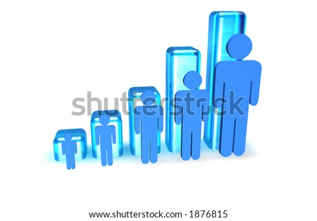 3d Bar graph showing increase in people size.