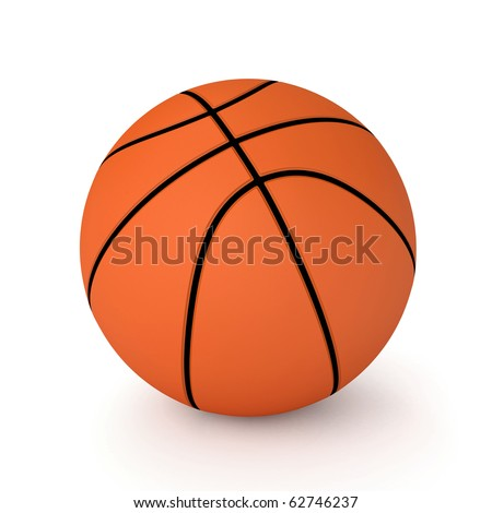 3d basket ball isolated on white background - stock photo