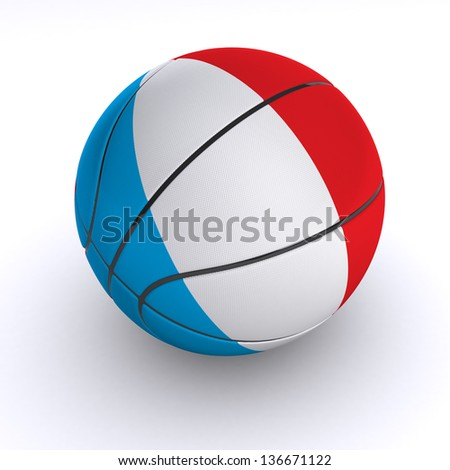 3D basket ball with France flag on white. - stock photo