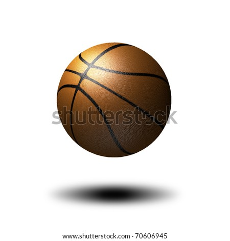 3D basketball isolated on white with drop down shadow - stock photo