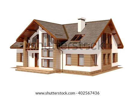 3d beautiful residential house render - stock photo