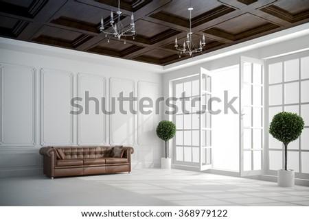 3d beautiful vintage white interior with big windows - stock photo