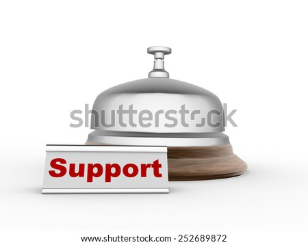 3d bell allarm. Support concept - stock photo