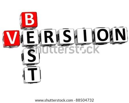 3D Best Version Crossword on white background - stock photo