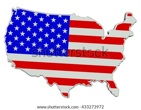 3D beveled map outline of the mainland of United States of America, colored in colors of the USA flag, isolated on white.
